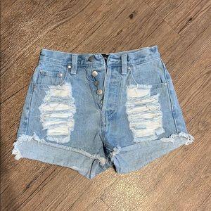 MinkPink Distressed Jean Shorts